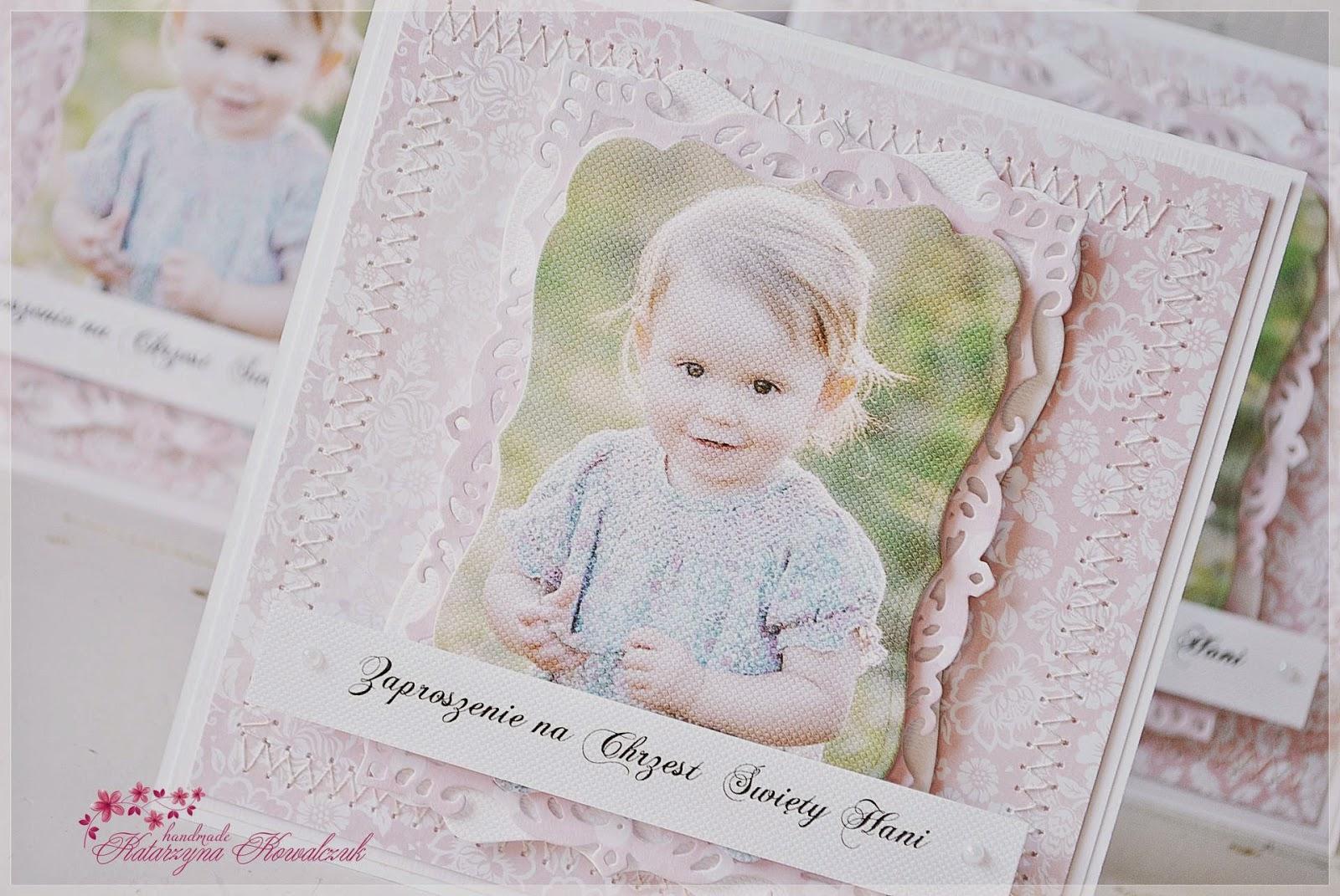 zaproszenie na chrzest święty ze zdjęciem dziecka scrapbooking