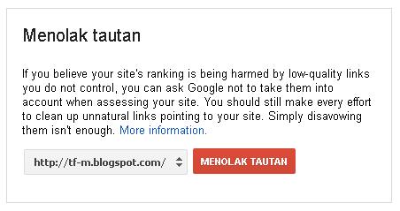 Menolak Tautan WebSpam Lewat Webmasters Tools Disavow Links
