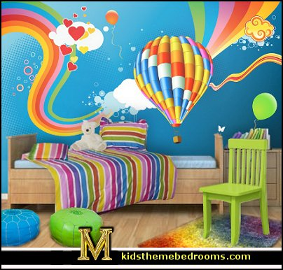 Hot Air Balloon Bedroom Ideas Decorating With Hot Air Balloons Lollipop Rainbow Comforter