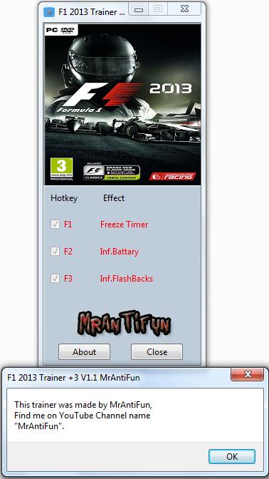 F1 2013 Trainer +3 V1.1 for update #1 MrAntiFun