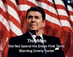 Reagan never blamed Carter, unlike President Barack Obama