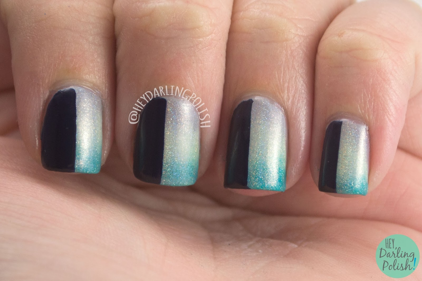 fairy godmother, gradient,green, holo, grey, blue, nails, nail art, nail polish, indie polish, fair maiden polish, hey darling polish,