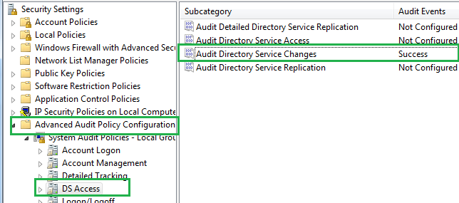 Steps to enable Active Directory Change Events