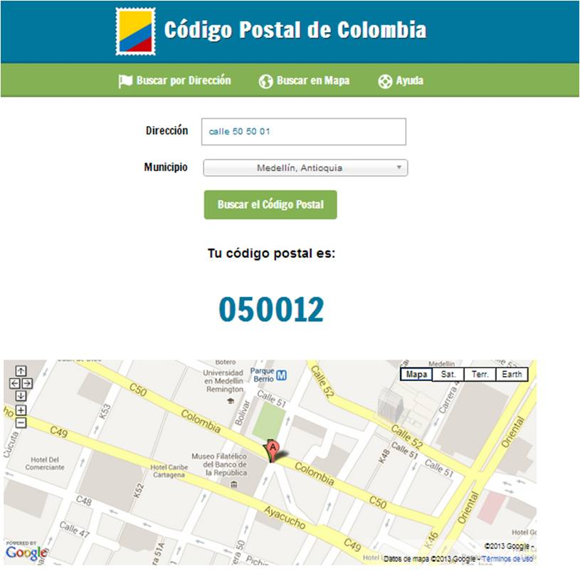 el codigo postal de colombia: