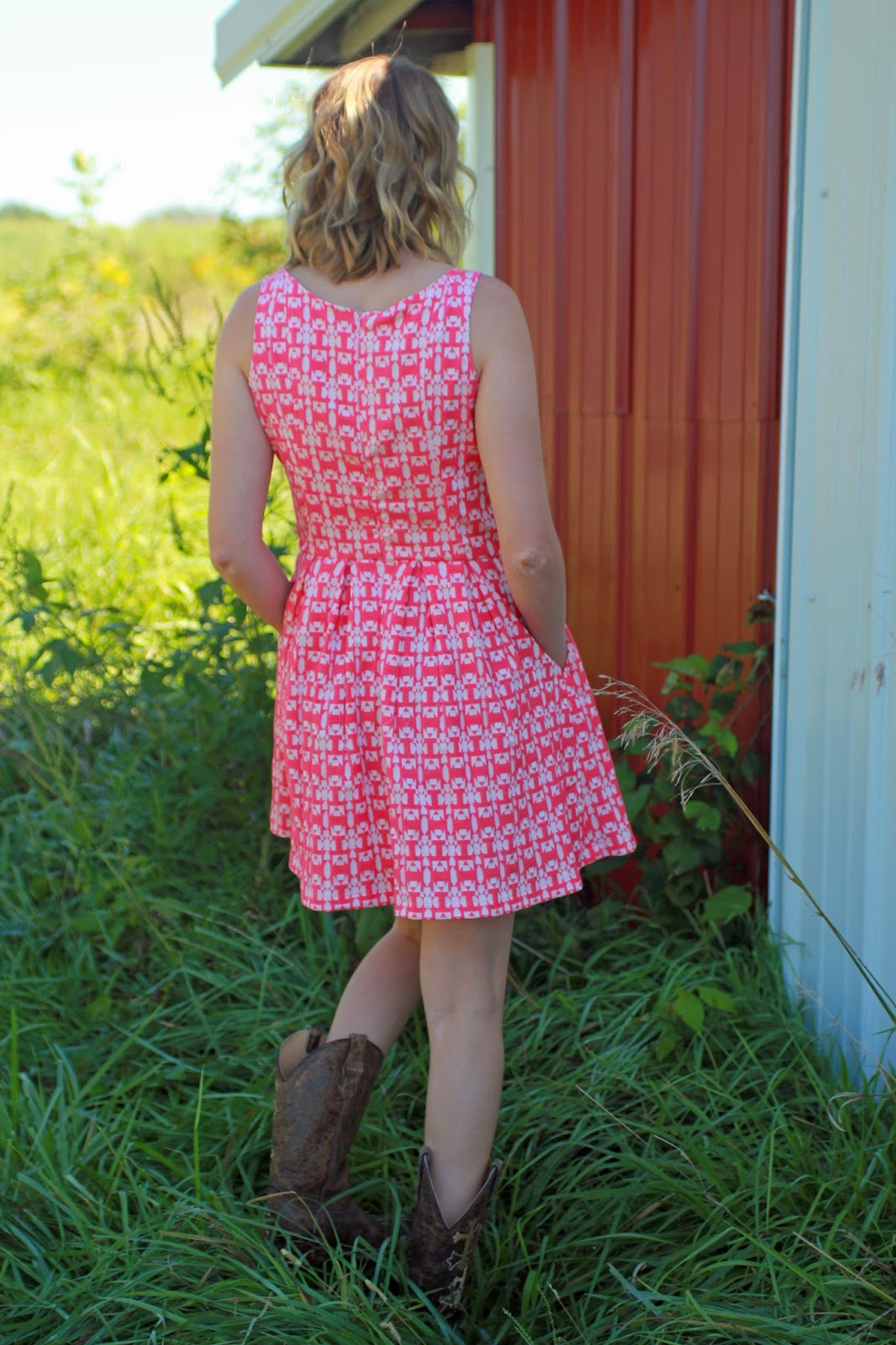 Mood Fabrics' stretch jacquard dress using  Butterick 5781