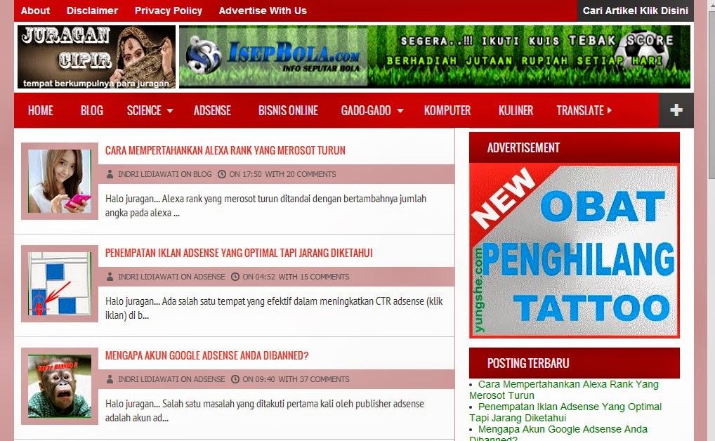 Heboh !!! Iklan Adsense Juragan Cipir Kini Menghilang