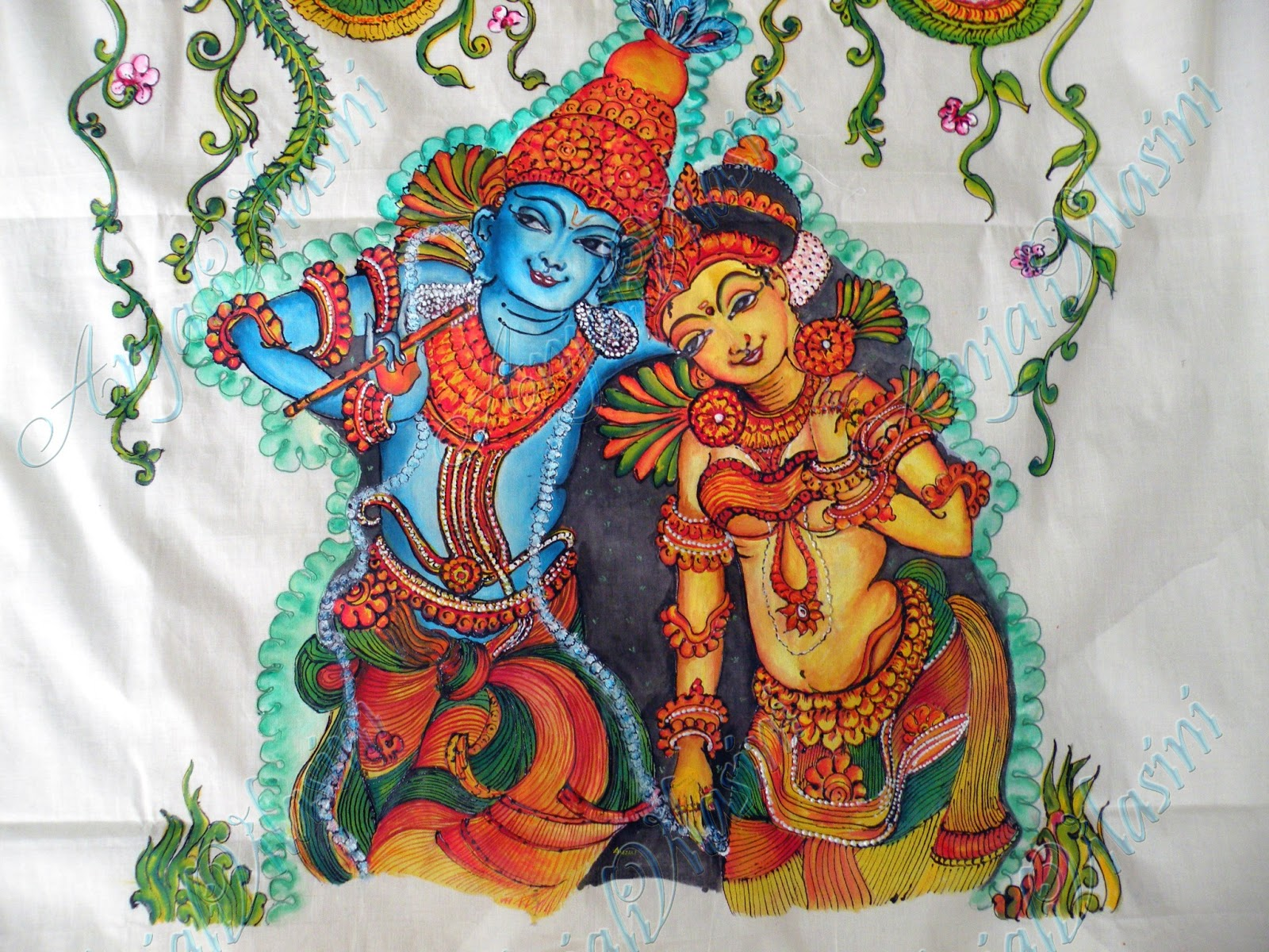 Anjali vilasini radha krishna mural on fabric for Aithihya mural painting fabrics