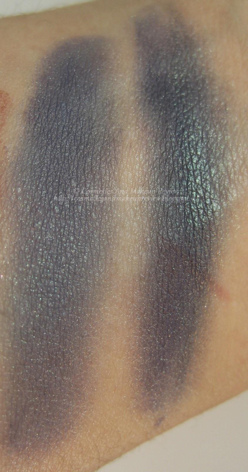 Neve Cosmetics - Pop Society Collection - Yuppie swatches asciutto (sx) e bagnato (dx)