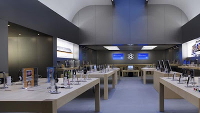 Iconic Apple stores around the world, Apple's Rue De Rive store in Switzerland features a distinct ceiling with rolling arches bathed in uplighting.