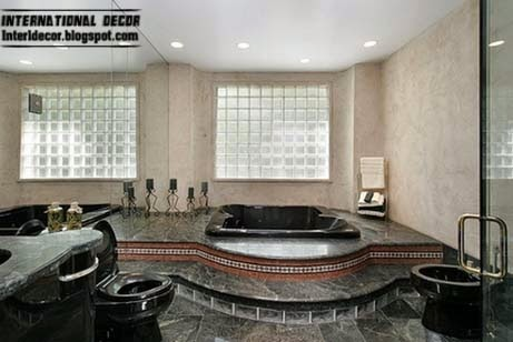 black floor tiles for luxury bathroom, black tiles