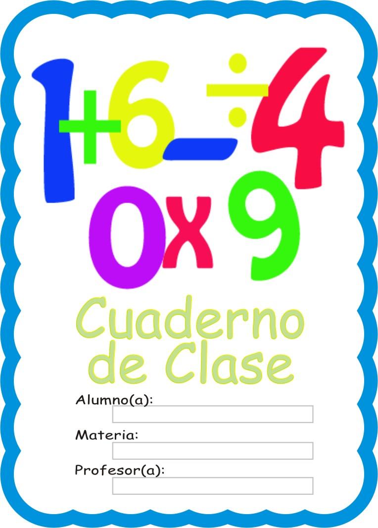 Caratula para cuaderno de matematica - Imagui