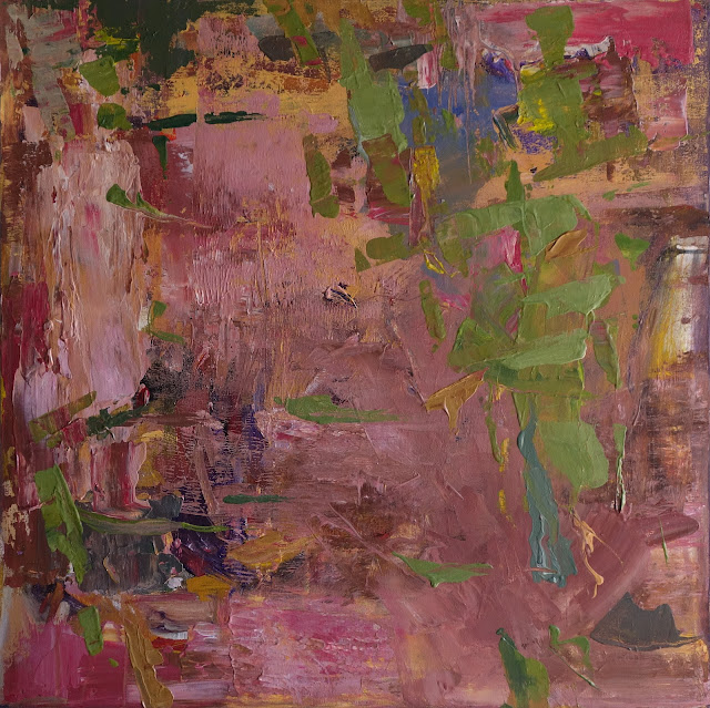 Lush, creamy, thick paint in carmine, rose, and pinks with floating, leafy summer greens. The textured layers and active surface draws in the viewer to pause and reflect. Artist acrylics on stretched canvas, unframed and ready for framing.   Keywords: painterly, pink, rose, summer, abstract expressionism, abstract, garden, happiness, lush, lyrical