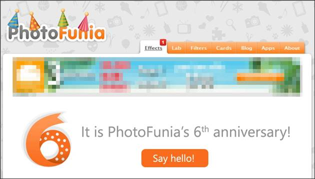 aniversário de 6 anos do Photofunia