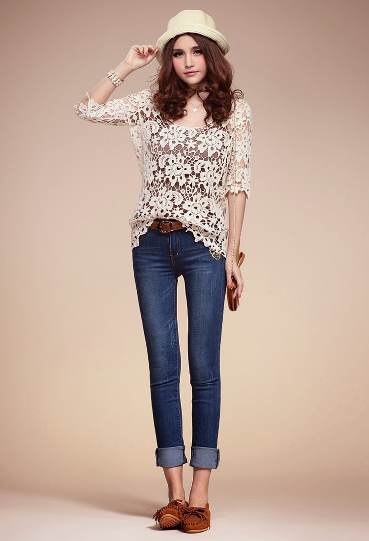 Three Quarter Sleeve Big Flower Knitting Crochet Blouse
