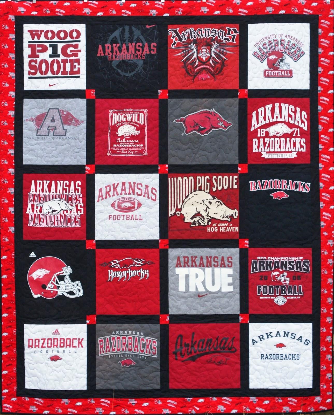 L7 Quilts Arkansas Razorback T Shirt Quilt