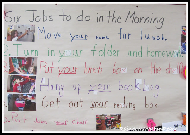 Six Jobs to do in the Morning at Kindergarten (RoundUP via RainbowsWithinReach)