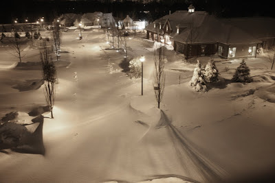 The main entry to Athertyn blanketed by snow.  Residents have no worries as the sidewalks and driveways are cleared for them after each snow fall.