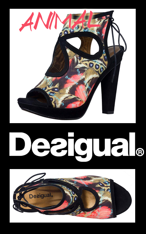 Sandales Desigual noires motif jungle Animal