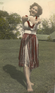 Carol in 1944 in Hula Skirt and Lei, Hawaii