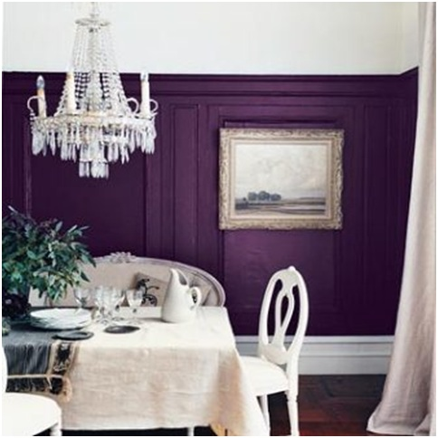 Purple and White dining room