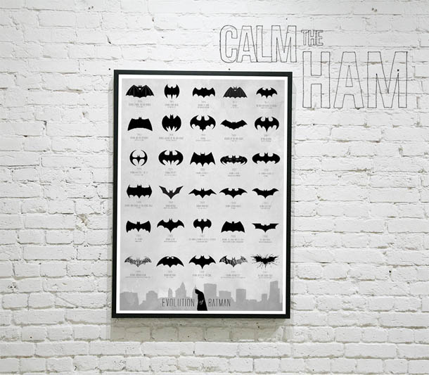 Evolução do logótipo do Batman - poster de cinema minimalista