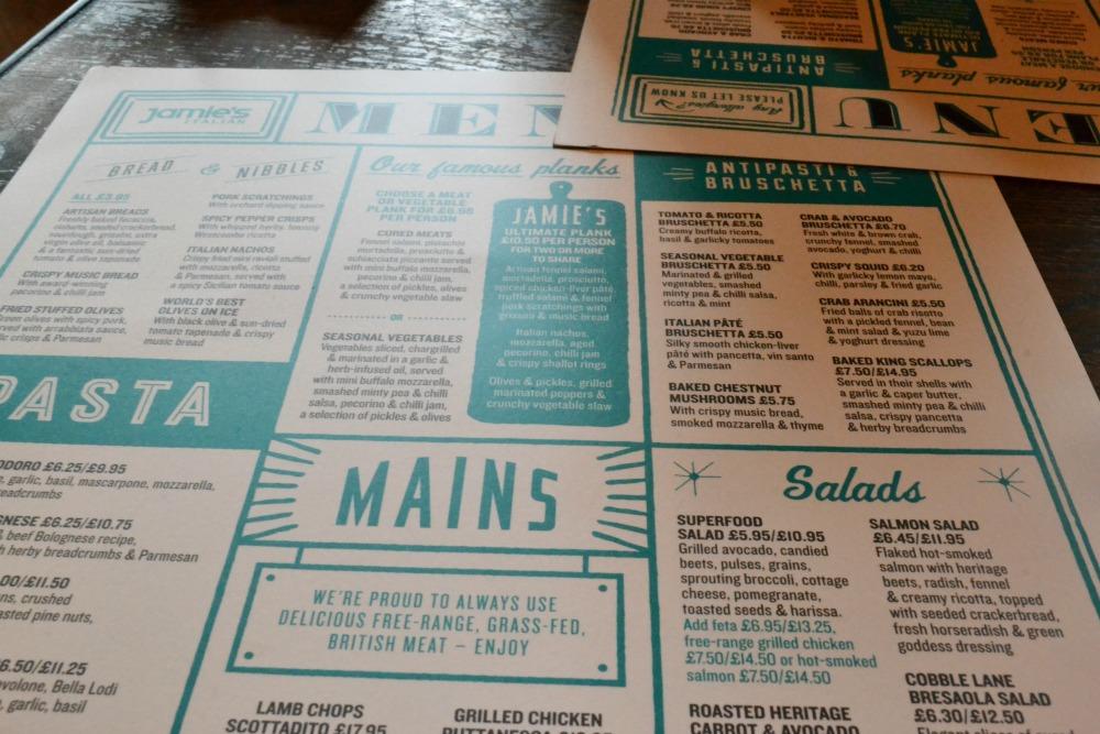 Jamie's Italian Glasgow menu