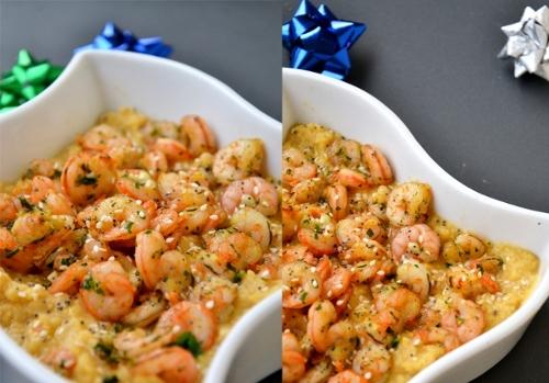 zuppa di ceci e gamberetti con salsa di soia, prezzemolo e aglio