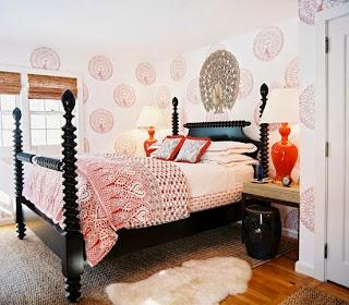 Schlafzimmer Möbel Orange Farbe Eklektisch