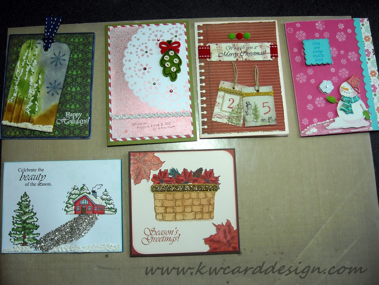 Kwcarddesign Christmas Card Swap 18 Cards I Made