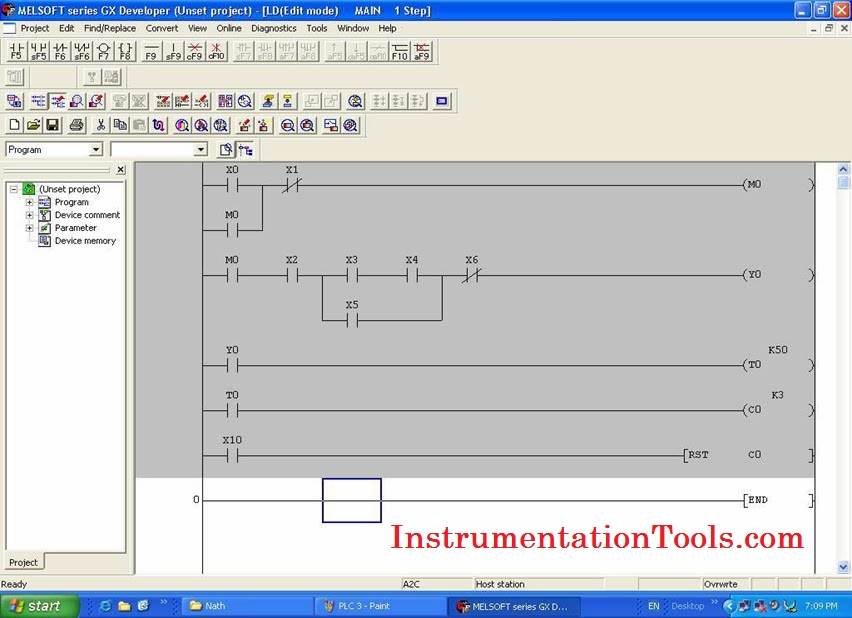 Mitsubishi plc programming tutorials instrumentation tools click toolbar and select start ladder logic test then plc will simulate program you can force program by shift enter ccuart Choice Image