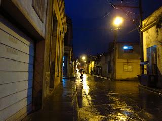 Santiago de Cuba street in the rain