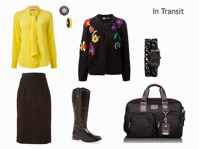 Travel outfit with a yellow blouse, a black skirt and a black floral embroidered cardigan