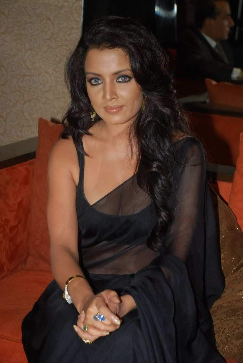 Bollywood Actress Celina Jaitley Black Transparent Saree Photos