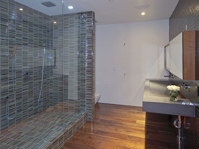 Photo of modern bathroom interiors with big shower cabin
