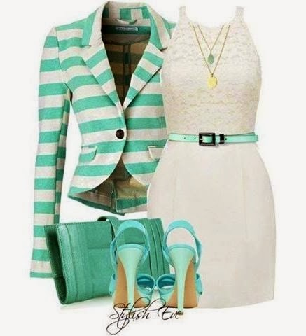 Adorable lined blazer, dress, blue handbag and high heels