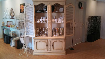 Mercury glass, milk glass, vintage rentals