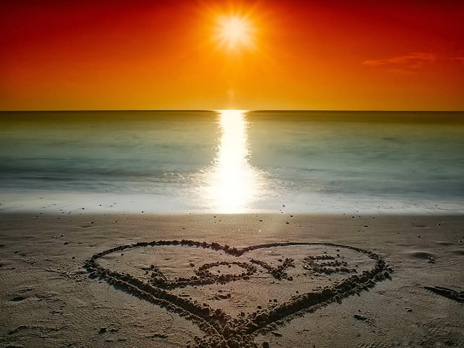 Beach Love Sunset Wallpaper