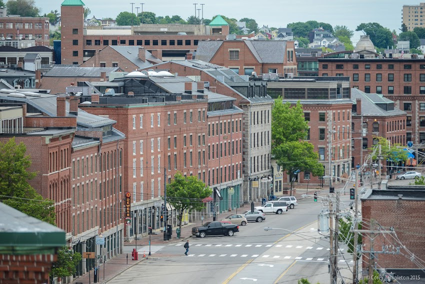 Portland, Maine USA June 2015 Photo by Corey Templeton of Commercial Street from roof of Marriott courtyard portland downtown waterfront/old port