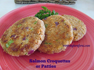 Salmon Croquettes or Patties from My Turn (for us)