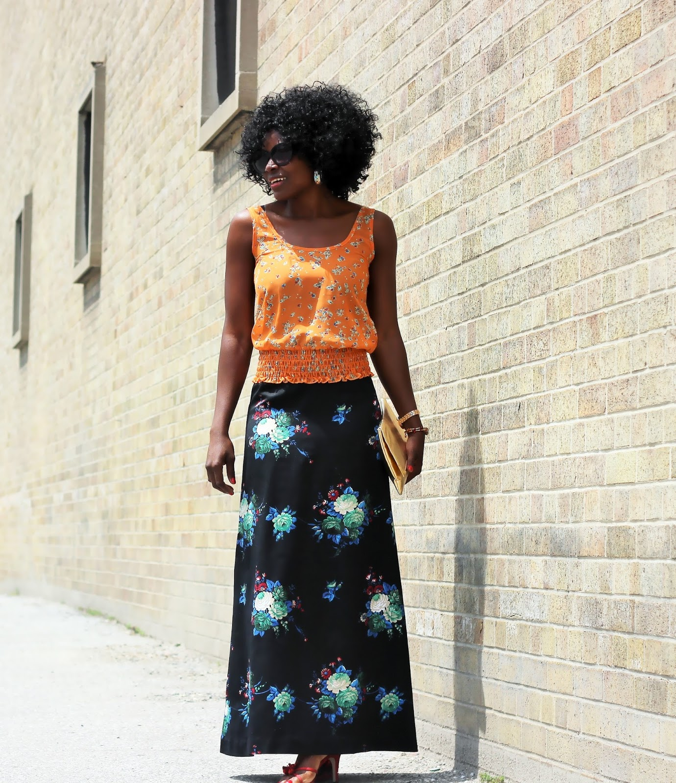 A-Line Floral Print Maxi Skirt
