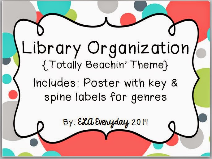 http://www.teacherspayteachers.com/Product/Library-Organization-Totally-Beachin-1351330