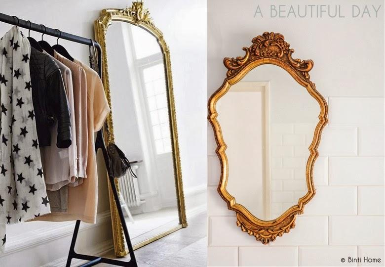 espejos dorados en vestidor y pared