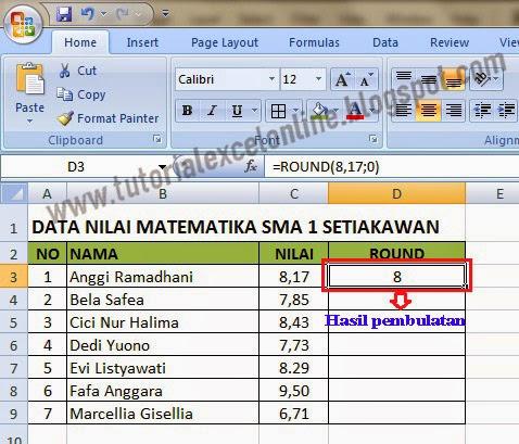 Hasil pembulatan Excel
