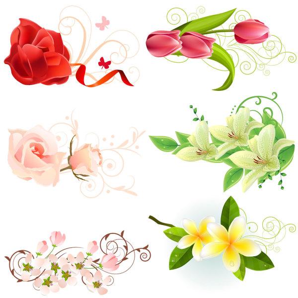 Vectores de rosas y tulipanes gratis