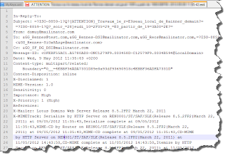 A .eml file opened in a text editor.