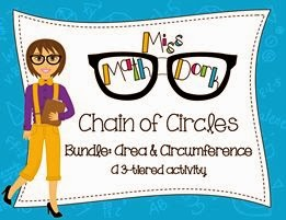 http://www.teacherspayteachers.com/Product/Chain-of-Circles-Bundle-3-tier-Finding-Area-Circumference-of-a-Circle-1116741