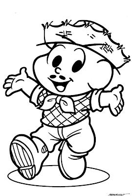 Desenho Festas Juninas para colorir - Turma da Mônica