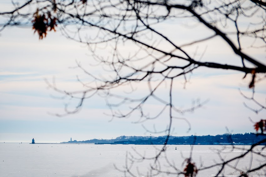 Portland, Maine USA December 2015. Photo by Corey Templeton. Spring Point Ledge Light and Portland Head Light on the horizon. Viewed from Martin's Point in Portland
