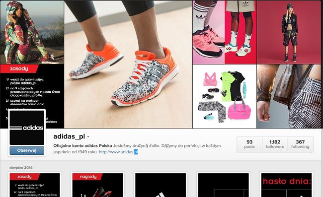 Profil Adidasa na Instagramie