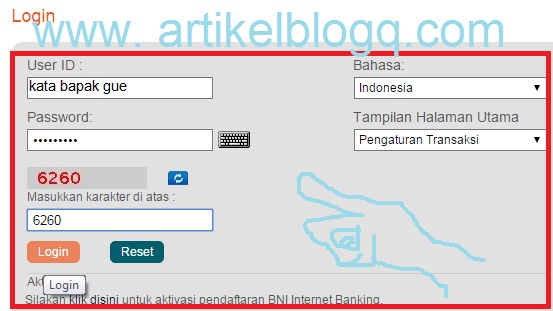 bni online banking login